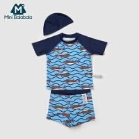 迷你巴拉巴拉幼童小孩分体短袖泳衣套装新款夏季儿童泳衣男童