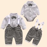2018新款宝宝春装套装男0一1岁英式婴儿衣服潮款新生儿背带裤套装