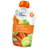 plum/谷百 二段苹果胡萝卜混合果蔬泥 113g宝宝辅食