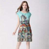 欧洲站夏装新款通勤英伦卡通印花短袖系带显瘦A字雪纺连衣裙
