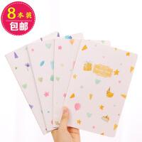 8本包邮笔记本文具车线本子小清新韩版记事本个性创意初高中学生 8本装