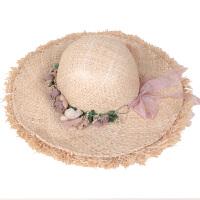 拉菲草帽子花朵花环草帽女夏天沙滩帽出游海边度假大沿遮阳帽