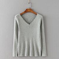大码女装 秋冬新款胖MM200斤纯色长袖针织打底衫百搭套头毛衣