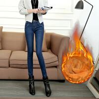 SOOSSN 韩版女装秋冬加绒小脚裤新款牛仔裤女加厚牛仔裤保暖铅笔裤 306