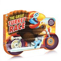 英文原版The Great Turkey Race 伟大的火鸡比赛 儿童趣味纸板书绘本 形状绘本 色彩丰富 风趣幽默故事书 亲子阅读 发声书