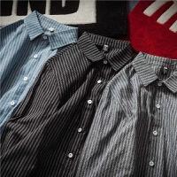 日系复古春季潮男士长袖衬衫潮大码港风休闲修身衬衣青年条纹潮