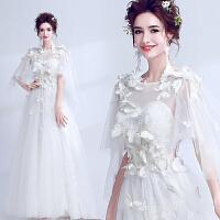 仙女系披纱设计 3D立体蝴蝶 春季春天新娘婚纱礼服9510 白色