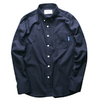 日系潮长袖衬衫男秋季青少年牛津纺撞色袖口简约纯色衬衫