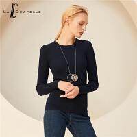 【告白节 2件3折到手:102】拉夏贝尔全羊毛针织衫女新款韩版套头薄款长袖修身毛衫纯色毛衣