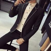 2018春季韩版修身社会便西服男短款休闲精神小伙发型师小西装