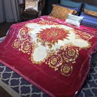 欧式婚庆大红拉舍尔毛毯加厚结婚法莱绒毯珊瑚绒冬季保暖被子 200cmx230cm(9斤)