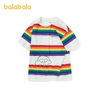 巴拉巴拉女童体恤儿童短袖t恤2021新款童装中大童纯棉印花甜美女夏