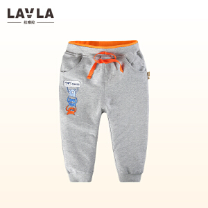 lavla童装 2018春装新品儿童休闲长裤中小童卡通裤子男童收脚裤