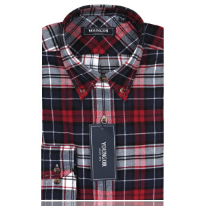 YOUNGOR雅戈尔DP红色绒格修身版长袖衬衫RM14148-42Y