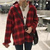 韩版新款复古宽松大码格子长袖衬衫女学生中长款防晒衫外套潮