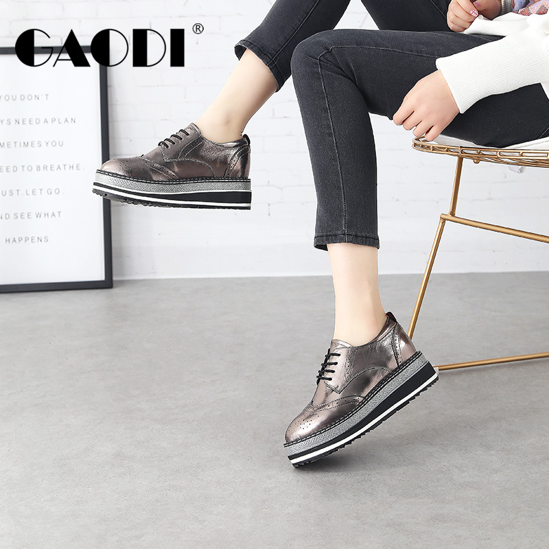 高蒂女鞋2018春季新款松糕底鞋内增高平底单鞋厚底布洛克小皮鞋女