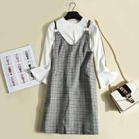 冬季新款女装韩版纯色喇叭袖针织上衣+千鸟格背带裙套装KY6975