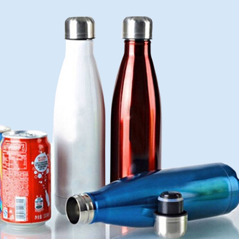 500ML可乐瓶304不锈钢保温杯 双层子弹头水杯真空直身杯保冷杯便携车载泡茶杯 金色