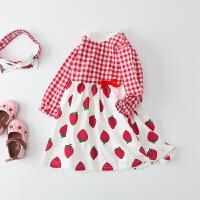 【专区127元3件】罗町春季新款女宝宝纯棉可爱洋气格子草莓图案圆领连衣裙