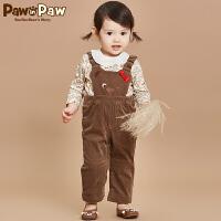 【4折 到手价:】Pawinpaw宝英宝卡通小熊童装冬季款男女宝宝背带裤婴幼儿连体裤