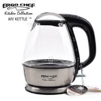 美国ergo chef极速电热水壶 德国肖特玻璃高端艺术茶具1.5大容量