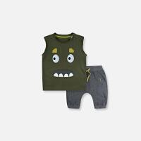 童装夏季新款女童宝宝衣服儿童男童卡通小怪兽背心套装