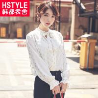 韩都衣舍2017韩版女装夏装新款印花V领系带长袖雪纺衫YK8459鲲