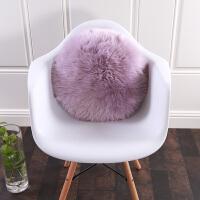 欧式羊毛抱枕沙发抱枕靠垫羊毛靠垫圆形抱枕整张羊皮皮毛一体 圆形靠垫 直径45c