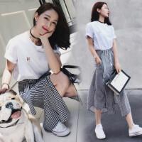 套装女2018夏季新款韩版时尚洋气港味chic显瘦时髦小香风两件套潮 白T恤+条纹裙子