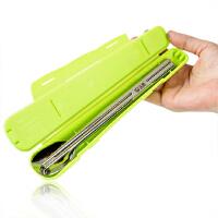 304不锈钢便携餐具旅游儿童筷勺套装 学生筷子勺子盒子三件套