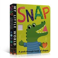 英文原版绘本 Snap: A Peek-Through Book of Shapes 形状认知启蒙书 词汇单词学习 洞