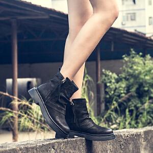 玛菲玛图裸靴女冬季2019新款短筒圆头中跟平底及踝靴磨砂牛皮双拉链马丁靴5531-5W
