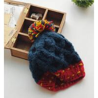 新款拼色韩版甜美可爱保暖针织帽冬季帽子女秋冬韩国毛线帽
