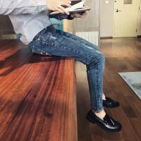 韩版时尚新款春季弹力牛仔裤男裤青年潮流个性做旧破洞裤乞丐裤男
