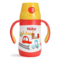 Nuby努比儿童宝宝保温喝水杯 不锈钢真空按键式保温吸管杯 带把手