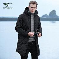 七匹狼棉服 2017年冬季新品户外运动连帽中长款防寒加厚棉衣外套