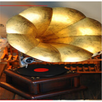 仿古黑胶唱机摆件复古铁艺留声机模型道具酒吧家居装饰品礼品礼品