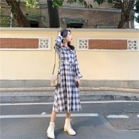 春秋韩版复古格子衬衫连衣裙女长款过膝大码学生马甲背心两件套装