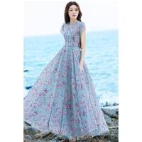 夏季新款文艺复古V领碎花气质连衣裙海边度假长裙沙滩裙子 花色