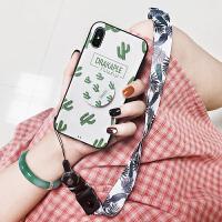 绿叶仙人掌气囊支架iPhoneXS手机套Max苹果x手机壳7p 8挂绳6splus软女款浮雕6p全包边i7潮牌8plu