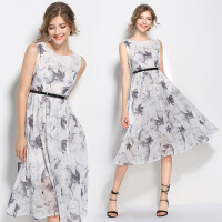 夏季无袖连衣裙雪纺款新品 欧美水墨印花中腰精致高贵中长裙