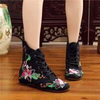 复古布鞋女冬季高帮保暖靴子女棉鞋系带厚底休闲鞋民族风棉靴