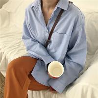 春季新款女装韩版chic风宽松百搭纯色翻领长袖衬衫女中长款衬衣潮