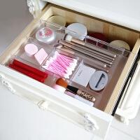 透明抽屉分隔盒彩妆工具收纳盒 办公杂物分类整理分割格