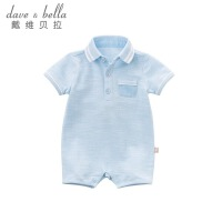 davebella戴维贝拉2018夏季新装宝宝连体衣 婴儿翻领爬服DBA6344