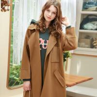 冬装新品 多口袋呢大衣纯羊毛宽松双面呢外套D746034D00