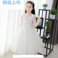 儿童礼服女童公主裙夏季花童礼服婚纱长袖宝宝钢琴演出白色蓬蓬裙