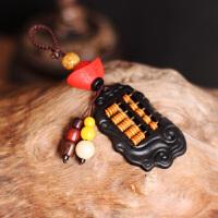 菩提子羊角如意算盘手工创意男女情侣汽车钥匙扣挂件饰品 黑色 黑牛角算盘