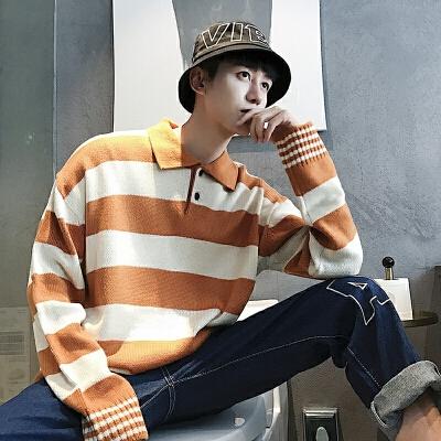 毛衣男韩版潮流个性帅气polo套头翻领针织衫新款秋季长袖线衣