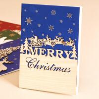 立体手工贴花蝴蝶结闪粉贺卡卡片暖冬手工圣诞卡